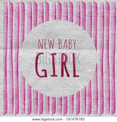 Baby Shower Invitation Card. It's a girl. New baby girl. Baby Shower Greeting Card. Watercolor creative greeting cards template. Illustration on canvas linen background