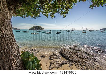 Buzios, Brazil - June 09 2017. Porto Da Barra Beach In Buzios