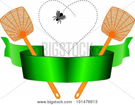 Heraldic tape with two fly swathes and insects. The symbol for the destruction of flies is the fly swatter.