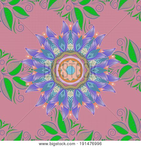 Hand painted vector mandala colored on background indian peacock indian pattern colored mandala mandala peacock.