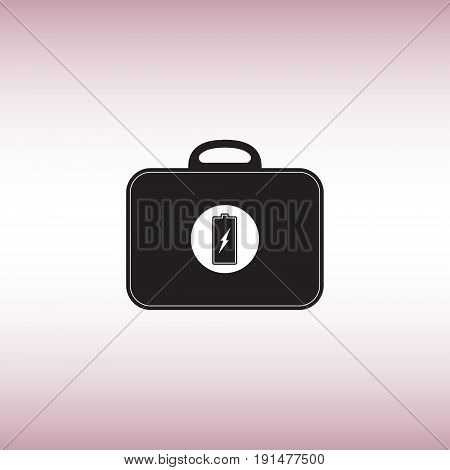 Battery flat vector sign. Black bag with battery image isolated vector icon. Recharging toolkit vector illustration.