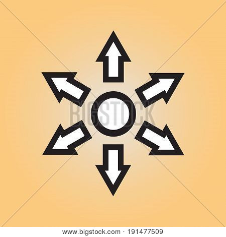 Circle and arrows flat vector icon. Circle and arrows vector sign.