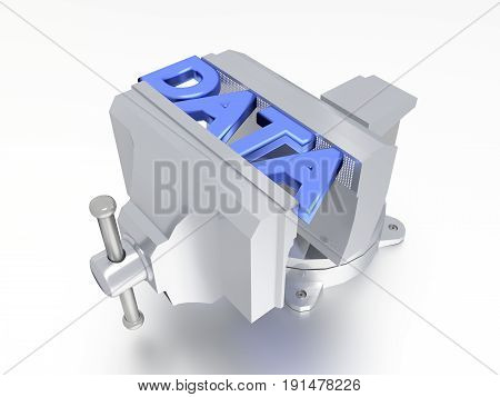 Metal vise compressing the word data technology concept 3D illustration