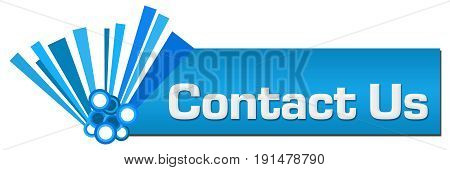 Contact us text written over abstract blue background.