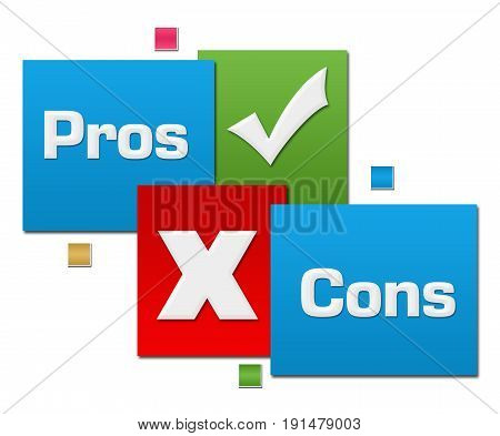 Pros and cons text written over red green blue background.