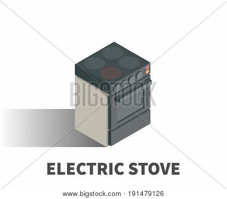 Electric Stove Icon, Vector Symbol In Isometric 3D Style Isolated On White Background.