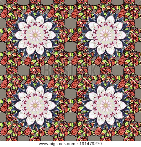 Boho style flower seamless pattern. Tiled mandala design best for print fabric or papper and more. Vector Mandala on colorful background.