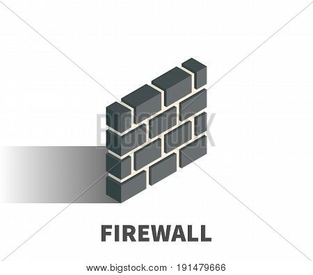 Firewall icon vector symbol in isometric 3D style isolated on white background.