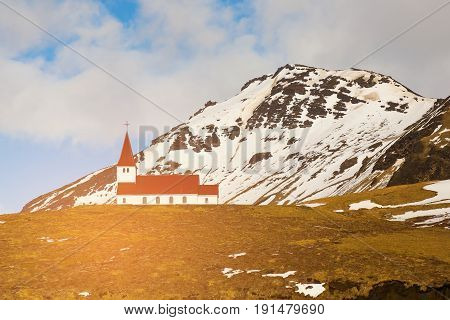 Church on high hill mountain Iceland natural winter season landscape background
