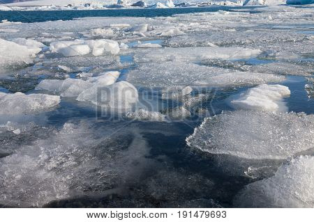 Close up winter ice in Iceland water lagoon natural landscape background
