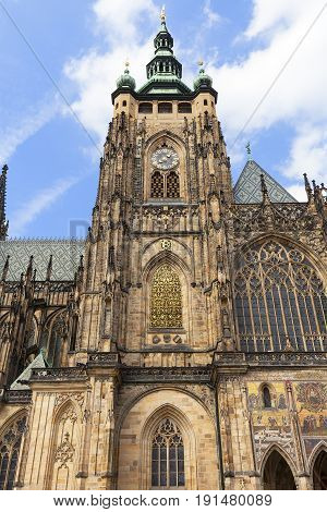 14th century St. Vitus Cathedral facade Prague Czech Republic