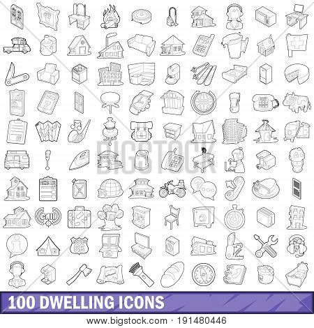 100 dwelling icons set in outline style for any design vector illustration