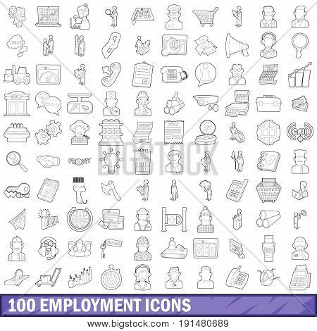 100 employment icons set in outline style for any design vector illustration