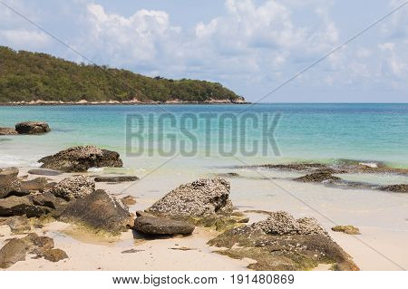 Beautiful natural rock on the beach nautral landscape background