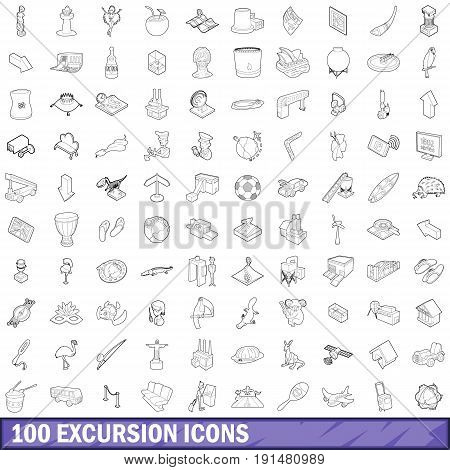 100 excursion icons set in outline style for any design vector illustration