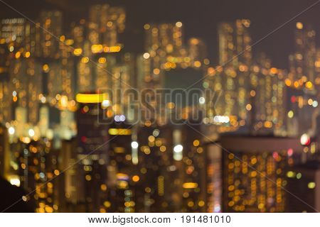 Nigh blurred bokeh light residence area Hong Kong city abstract background