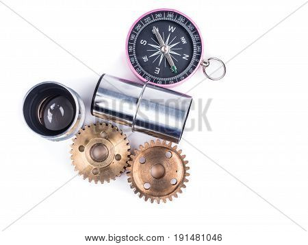 compass and equipment for explorer trip on white background