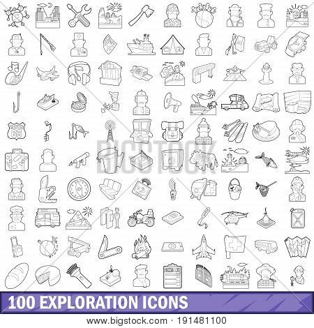100 exploration icons set in outline style for any design vector illustration