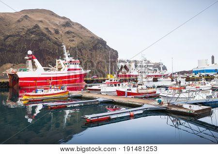 Fishing Boats In Port Of Vestmannaeyjar