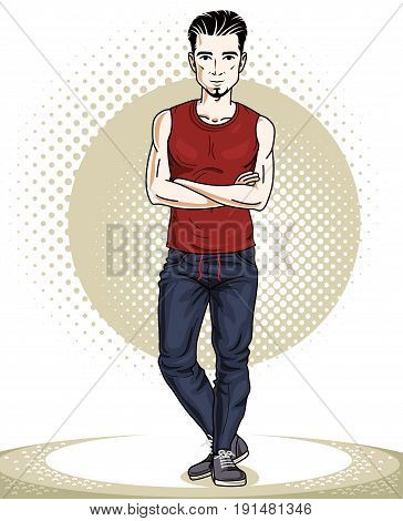 Athletic brunet young adult man standing. Vector character with beard wearing sport clothes healthy lifestyle and fitness theme.
