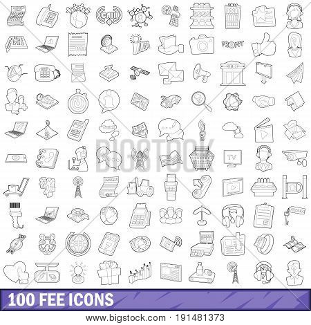 100 fee icons set in outline style for any design vector illustration