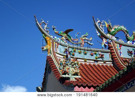 Decorated Temple Roof In Southern Taiwan