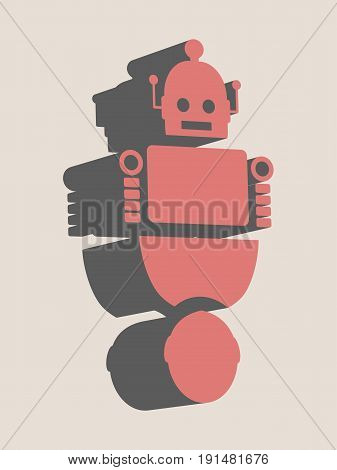Human and robot relationships. Robotics industry relative image. 3D isometric icon