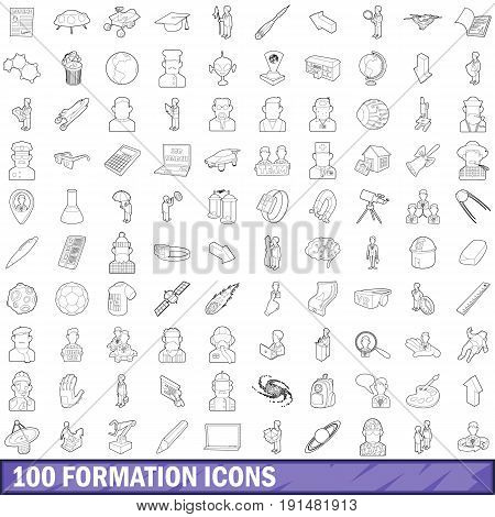 100 formation icons set in outline style for any design vector illustration