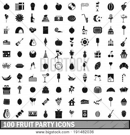 100 fruit party icons set in simple style for any design vector illustration