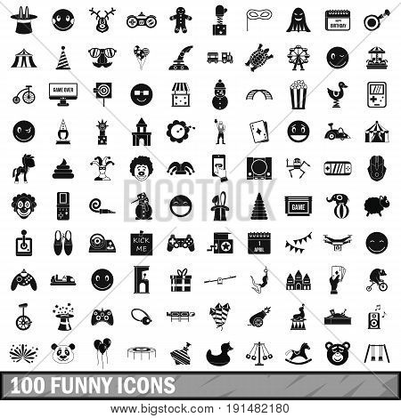 100 funny icons set in simple style for any design vector illustration