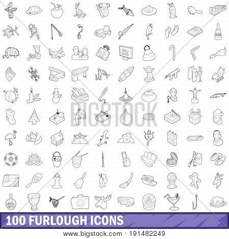 100 furlough icons set in outline style for any design vector illustration