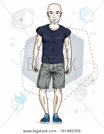 Handsome hairless young man standing. Vector illustration of man wearing stylish casual clothes.