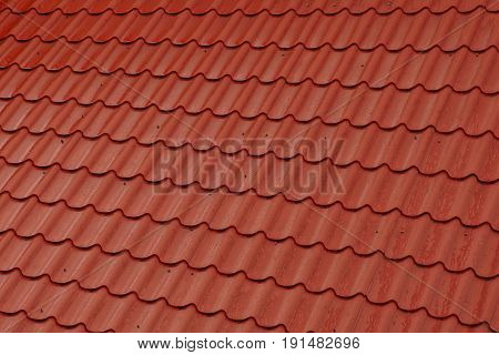 Red tile on the roof of a private house