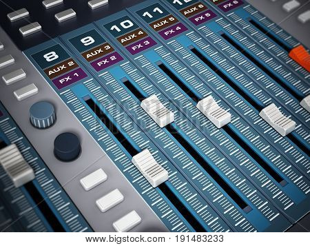 Professional digital studio equalizer with push buttons. 3D illustration.