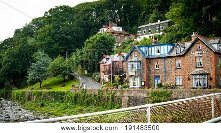 Lynmouth UK - July 27 2016: Glenville House on bank of East Lyn River Lynmouth Devon UK