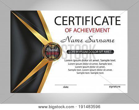 Template certificate of achievement. Elegant design. Vector illustration.