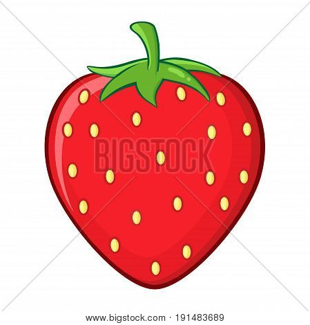 Strawberry Fruit Cartoon Drawing Simple Design. Illustration Isolated On White Background
