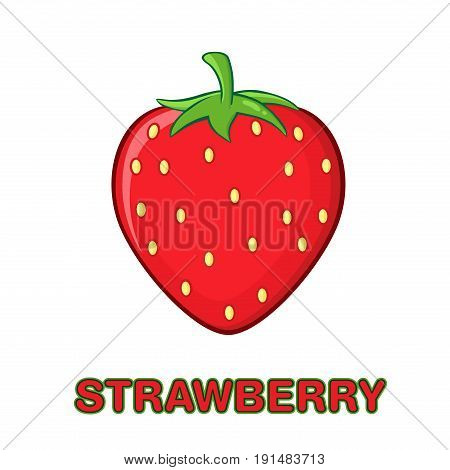 Strawberry Fruit Cartoon Drawing Simple Design. Illustration Isolated On White Background With Text Strawberry