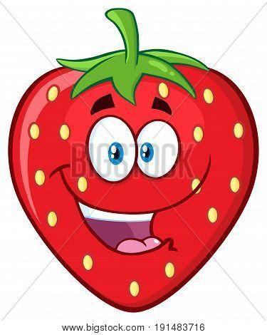 Happy Strawberry Fruit Cartoon Mascot Character. Illustration Isolated On White Background