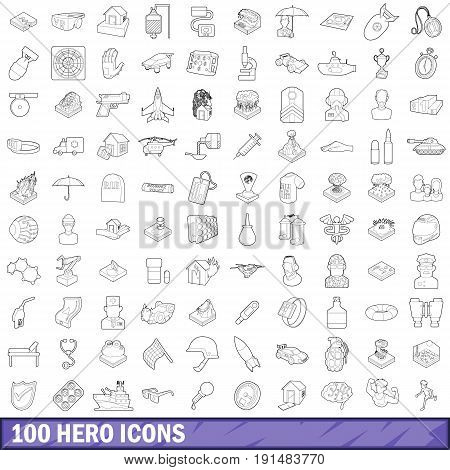 100 hero icons set in outline style for any design vector illustration