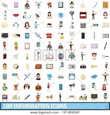 100 information icons set in cartoon style for any design vector illustration