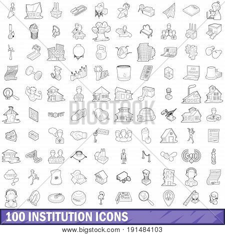 100 institution icons set in outline style for any design vector illustration