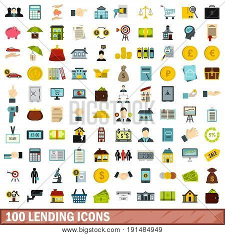 100 lending icons set in flat style for any design vector illustration