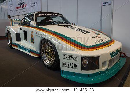 STUTTGART GERMANY - MARCH 02 2017: Racing car Porsche Kremer 935 K2 1978. Europe's greatest classic car exhibition