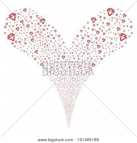 Diamond explosive stream. Vector illustration style is flat red iconic diamond symbols on a white background. Object fountain created from random design elements.