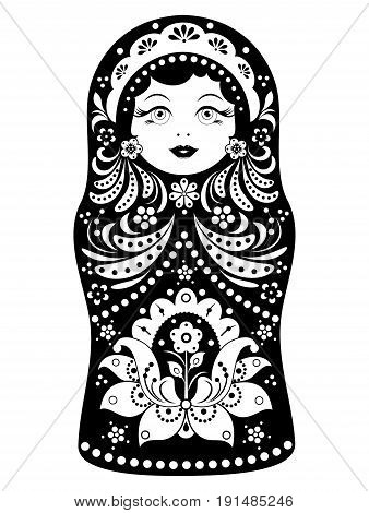 Vector illustration of russian doll matryoshka on white background