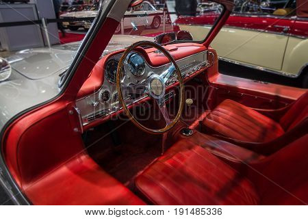 STUTTGART GERMANY - MARCH 02 2017: Cabin of the Mercedes-Benz 300 SL (W198). Europe's greatest classic car exhibition
