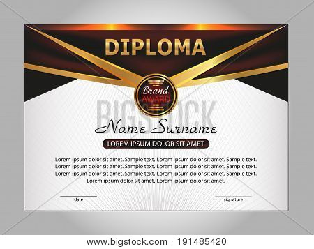 Diploma or certificate. Reward. Winning the competition. Award winner. Vector illustration.