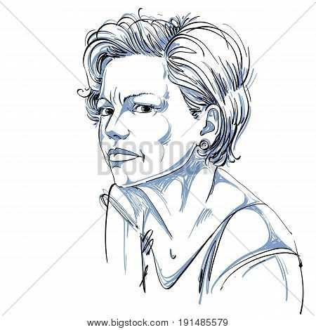 Vector portrait of attractive woman expressing doubt illustration of good-looking female. Person emotional face expression.