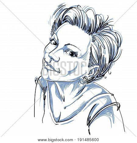 Portrait of delicate romantic good-looking woman black and white vector drawing. Emotional expressions idea image.
